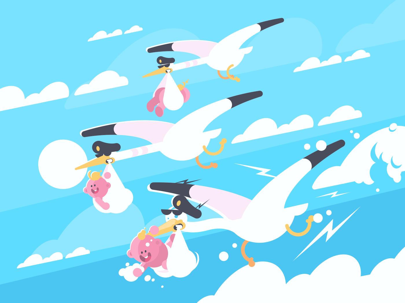 Storks carry babies in beaks. Newborns in flight. Vector illustration