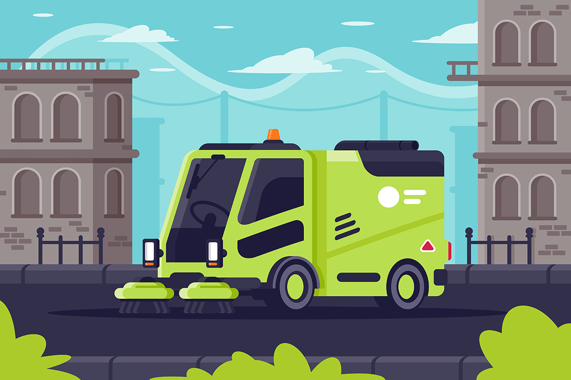 Street cleaning machine at work in city.