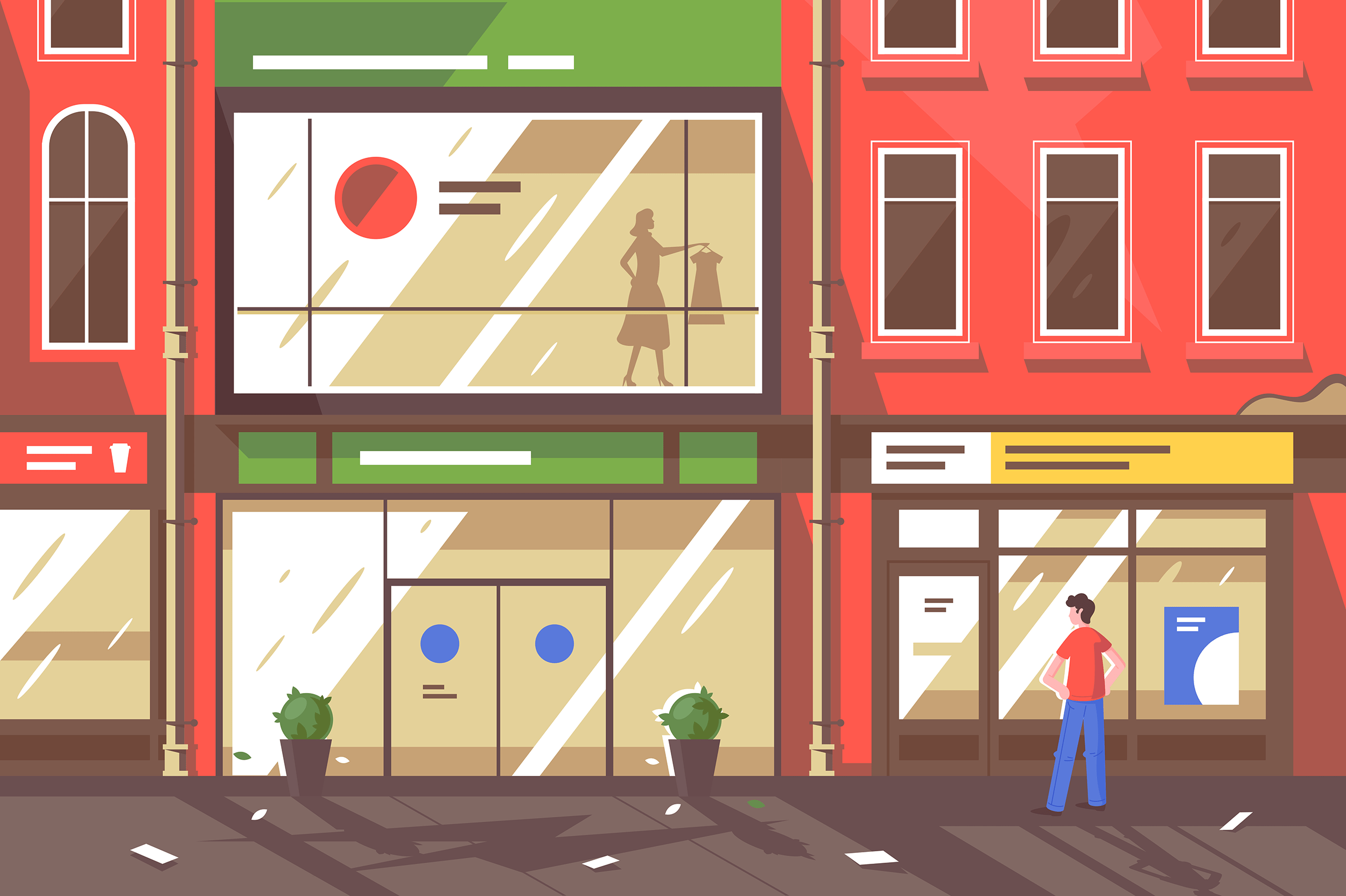 Flat young man on street with shop windows.