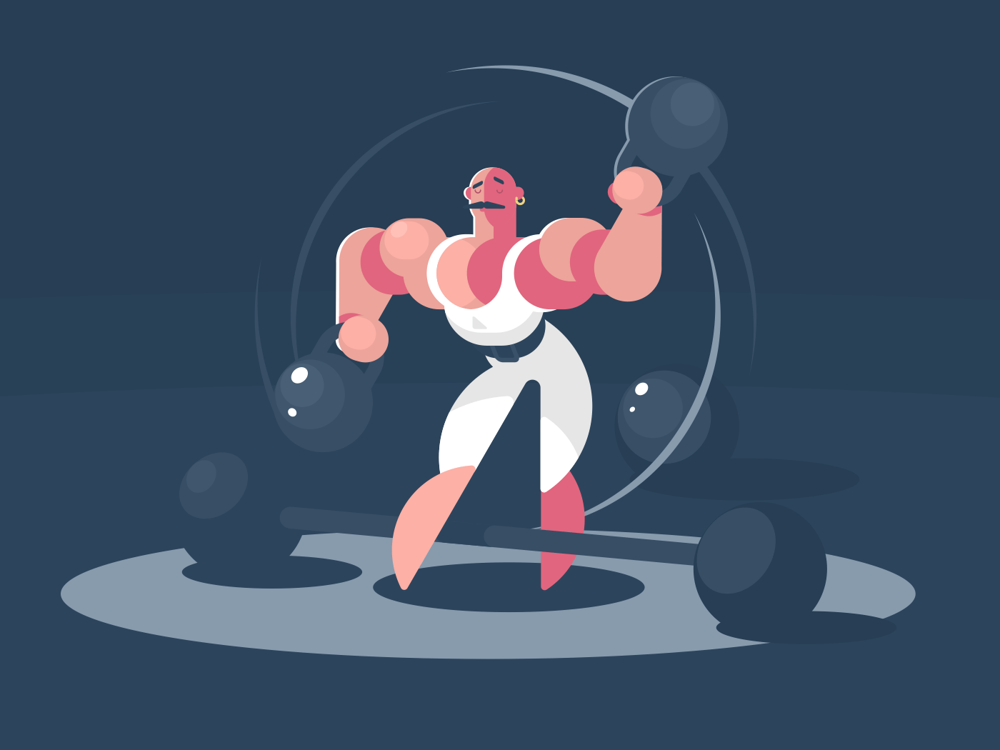 Circus athlete strongman with weights in hands. Vector flat illustration