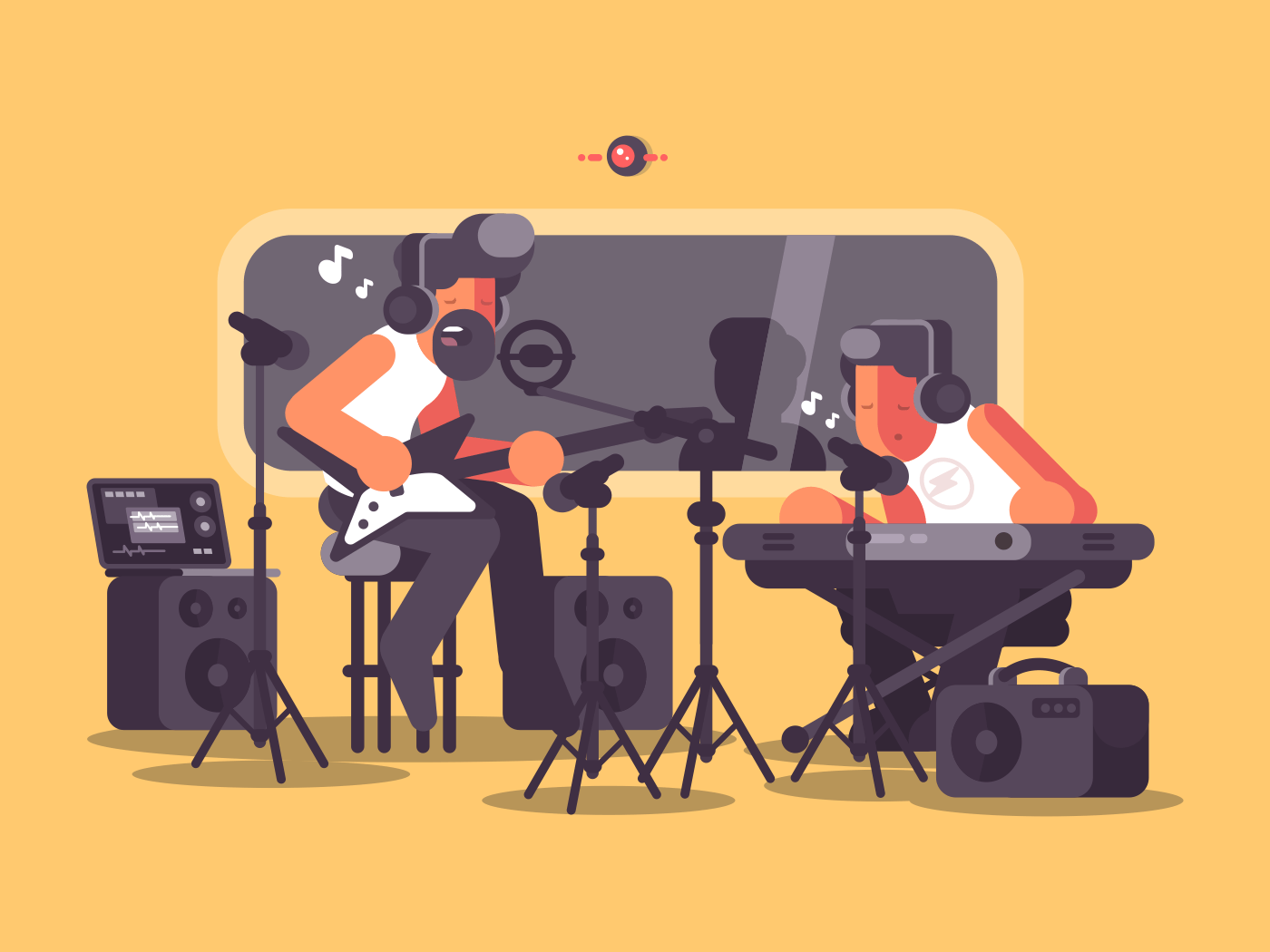 Sound recording studio with audio equipment. Music group records song. Vector illustration