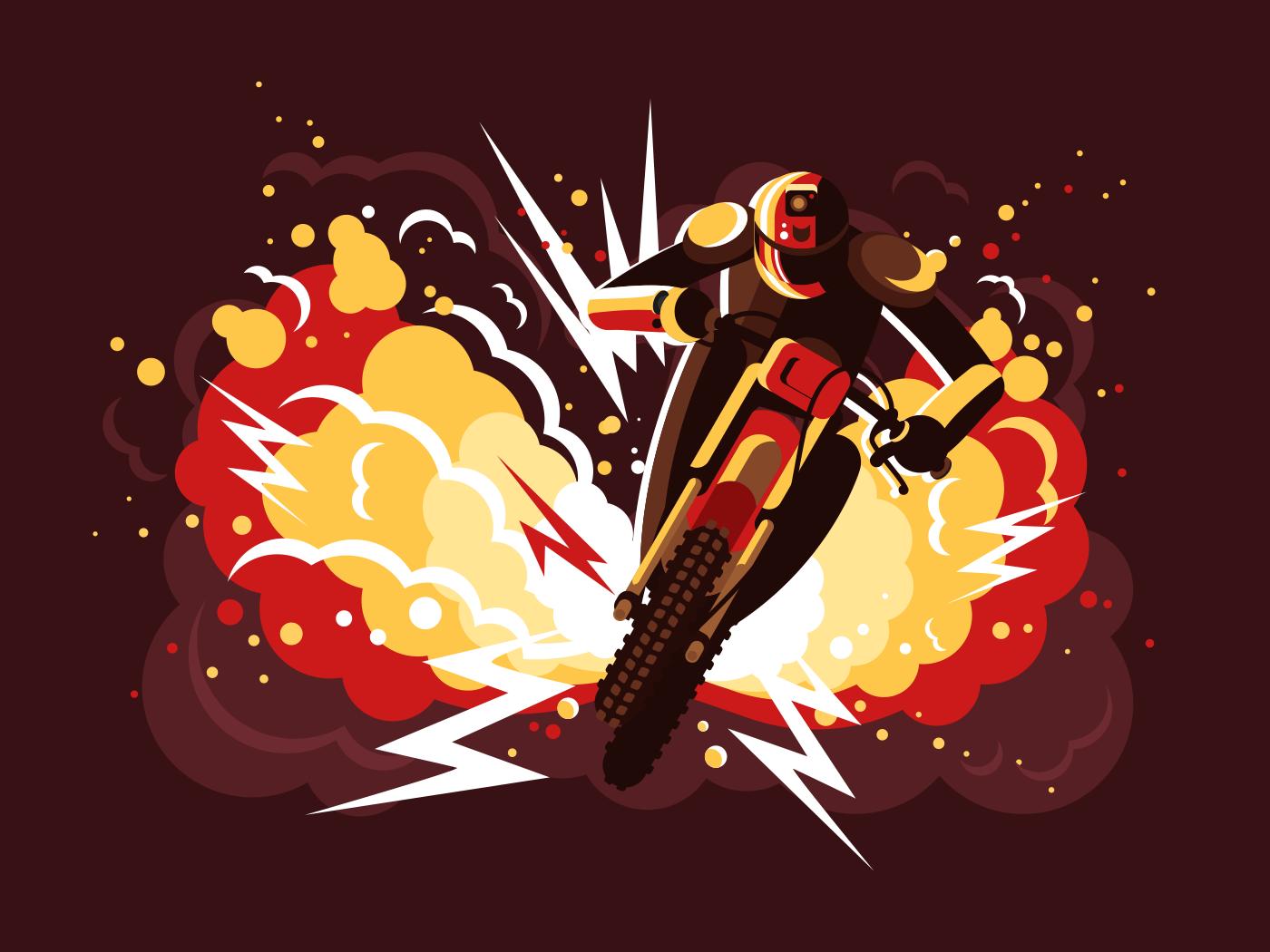 Stuntman on motorcycle flat vector illustration