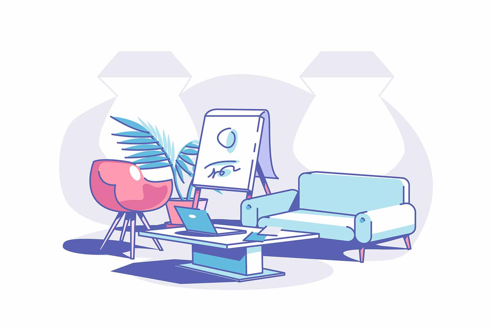 Stylish office design vector illustration. Comfy sofa and coffee table with modern laptop flat style. Working atmosphere. Personal cabinet concept. Isolated on white background