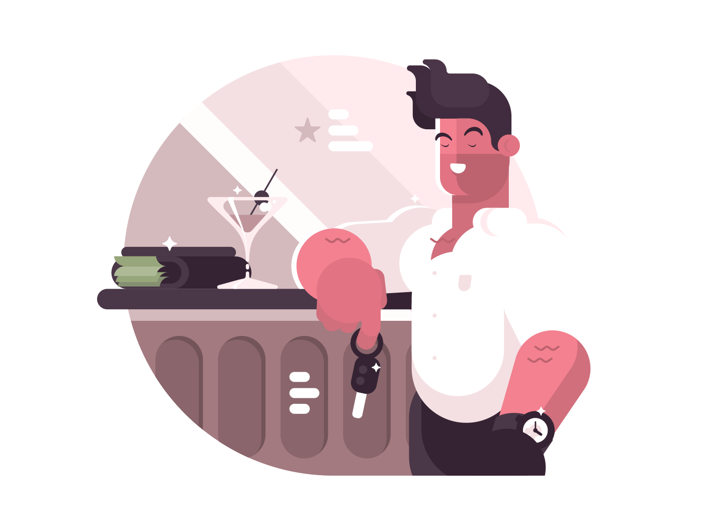 Successful man with money. Brutal guy near bar. Vector illustration