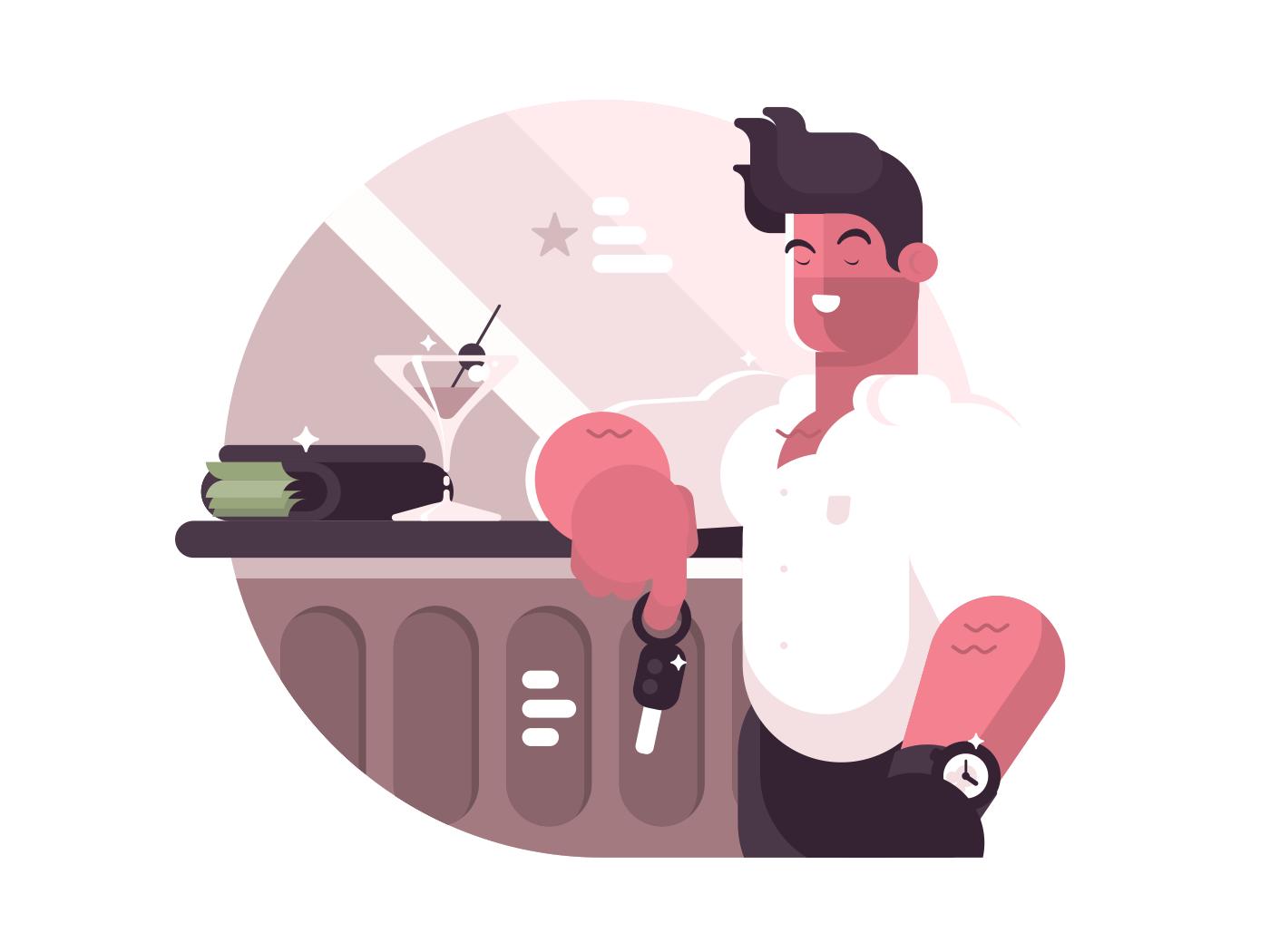 Successful man with money. Brutal guy near bar. Vector illustration