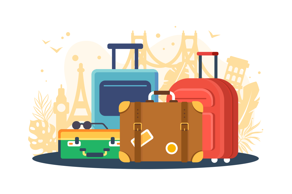 Flat set suitcases on background of attractions.