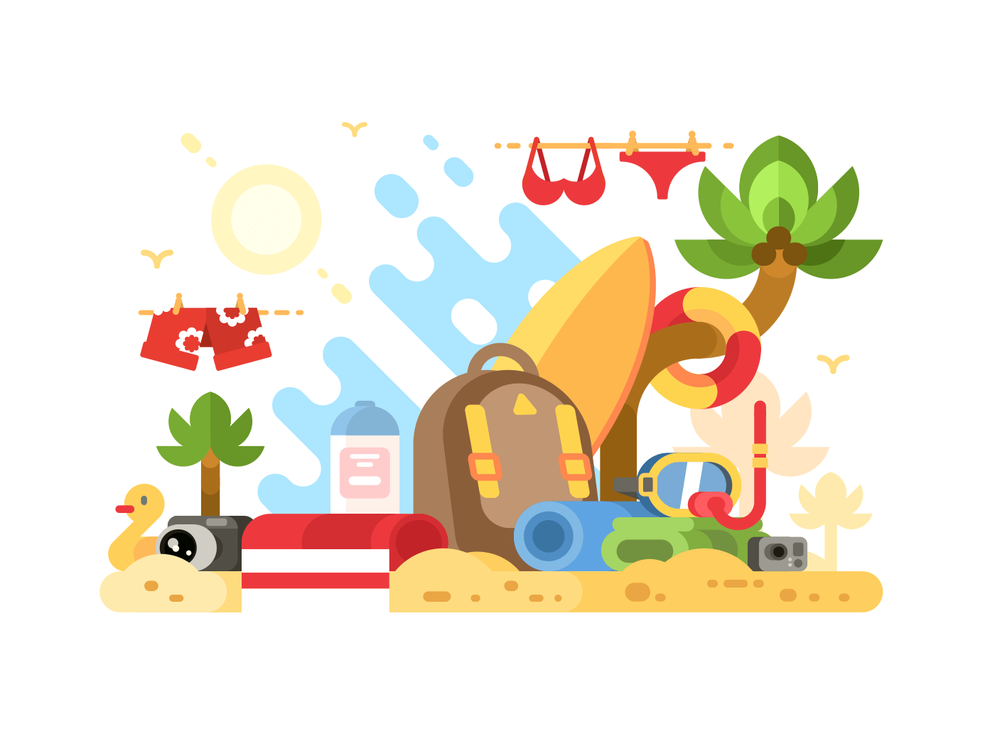 Objects of summer holidays. Surfboard and mask with snorkel, towel and camera. Vector illustration
