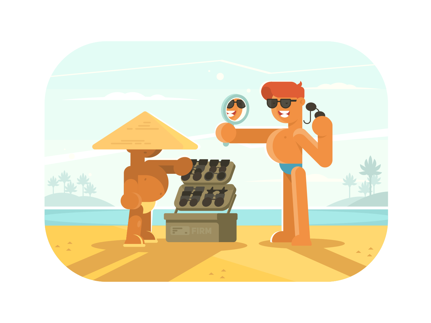 Young guy trying sunglasses illustration