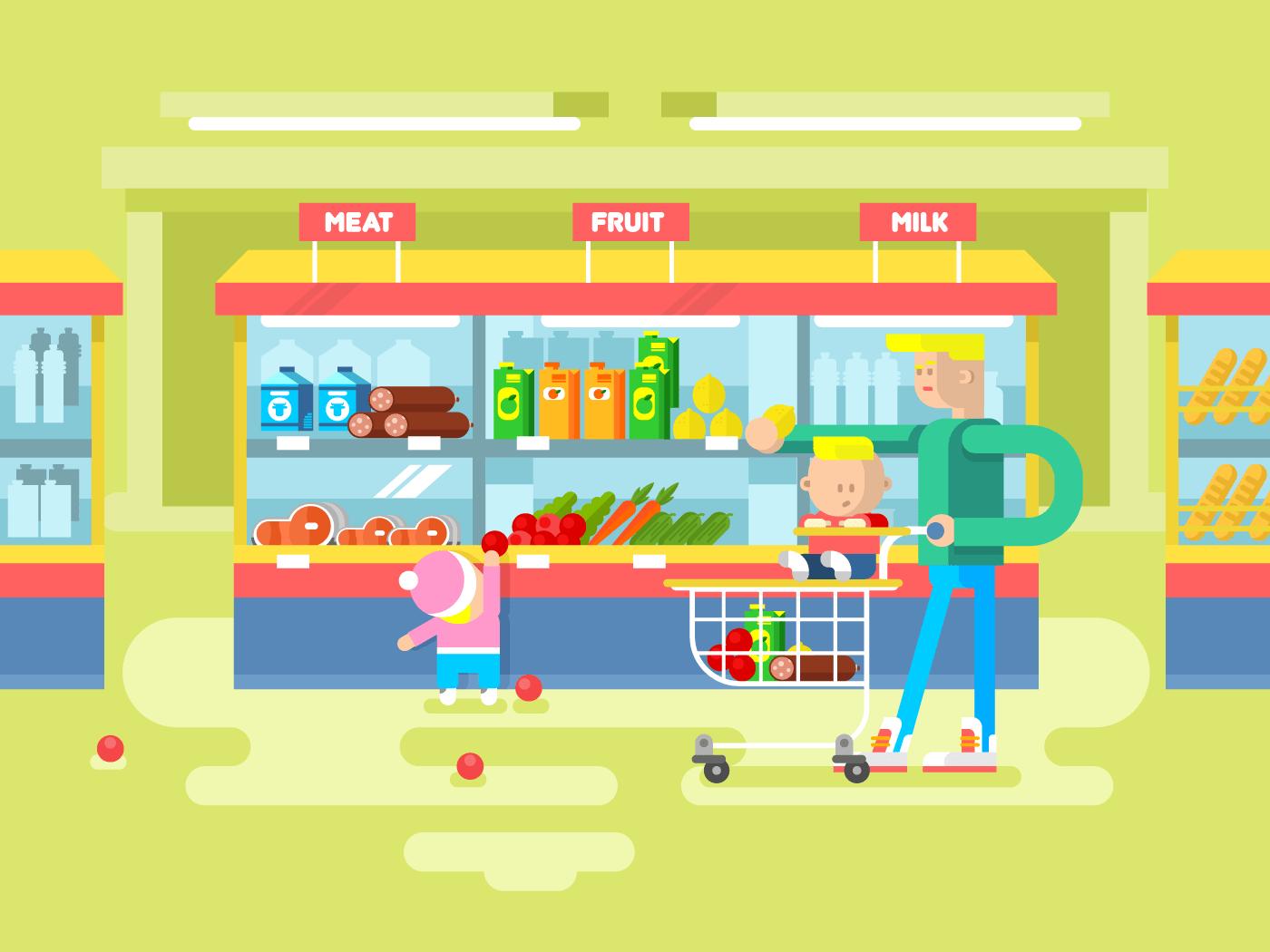 Supermarket design flat vector illustration