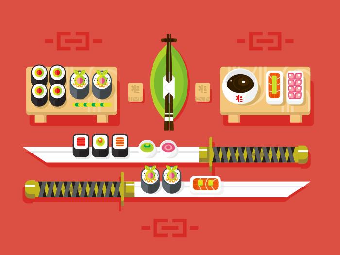 Japanese cuisine, sushi flat vector illustration