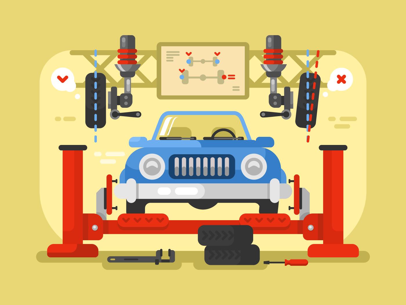 Suspension car flat vector illustration