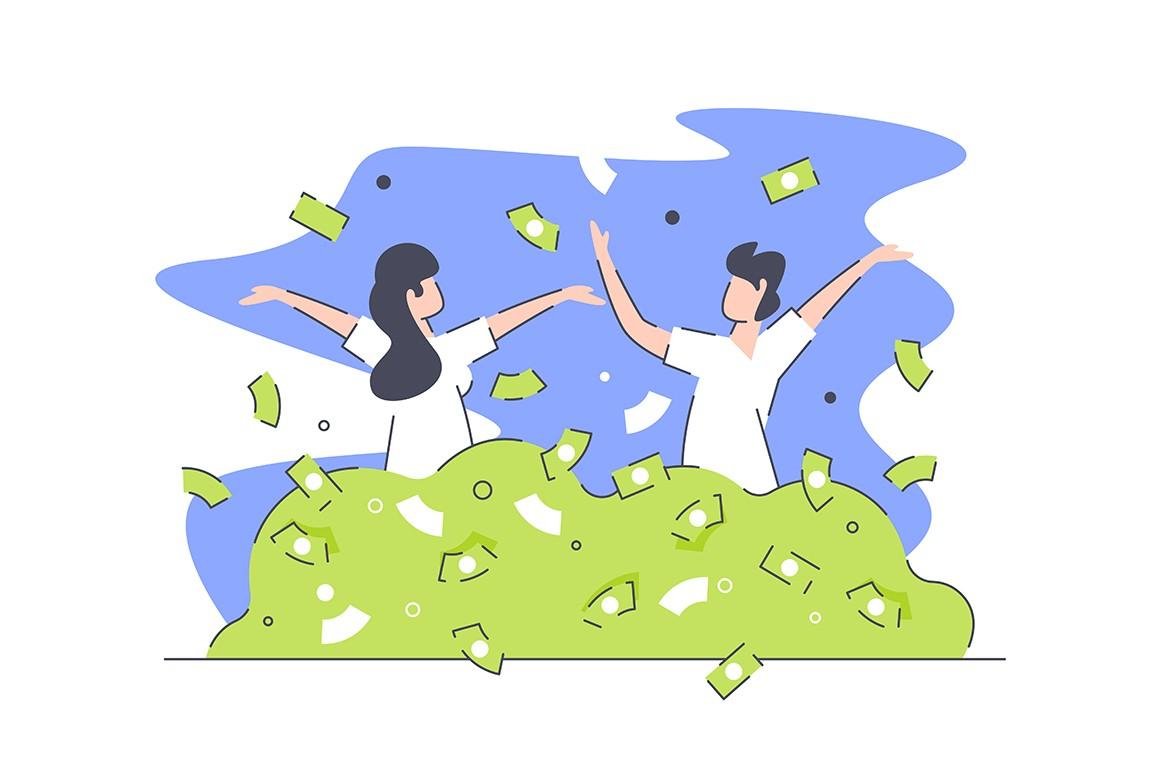 Happy rich people