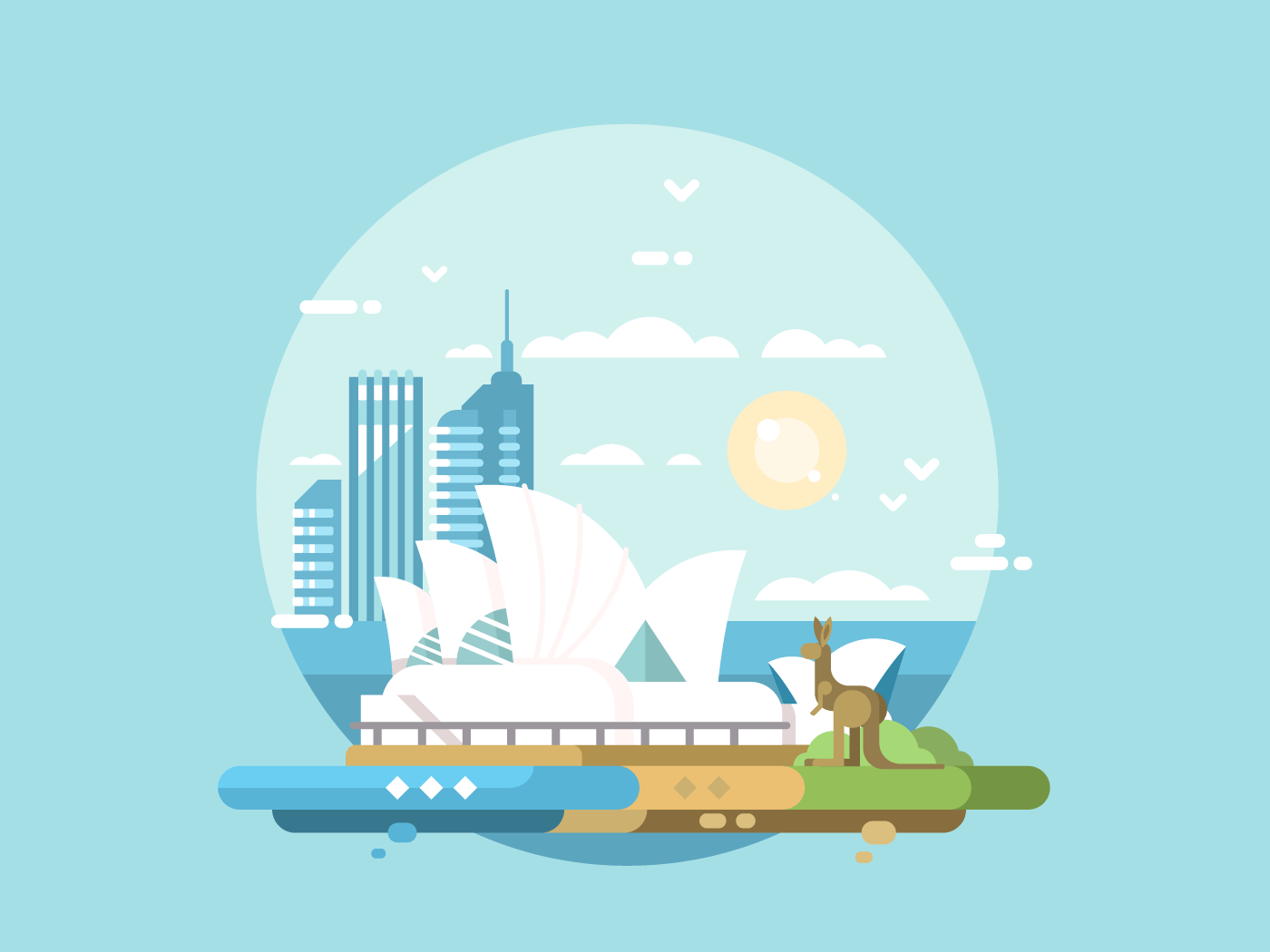 Sydney city flat vector illustration