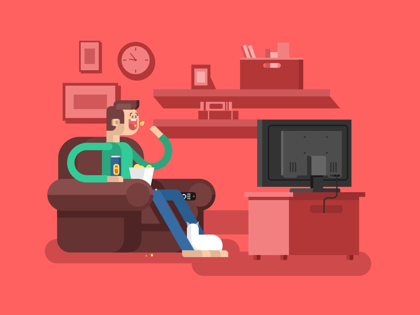 Man watching TV flat vector illustration