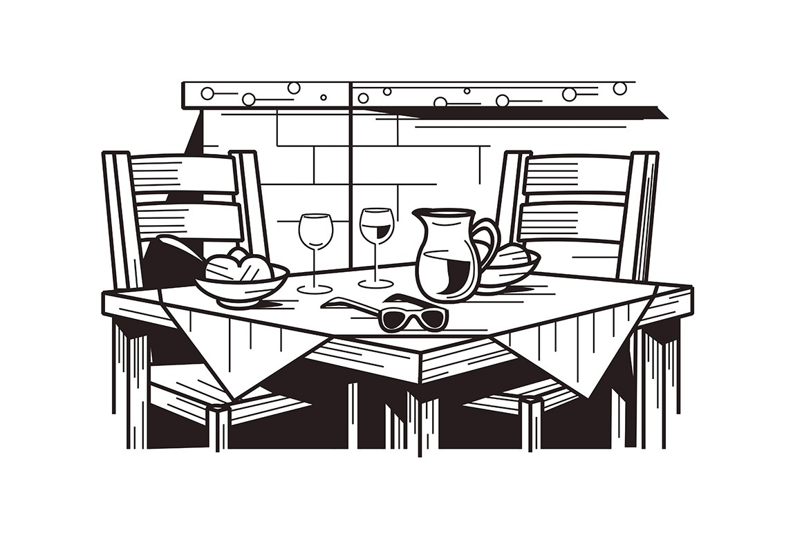 Served table in restaurant vector illustration. Wineglasses, dishes, jug with beverage flat style design in black and white colours. Romantic dinner for two person