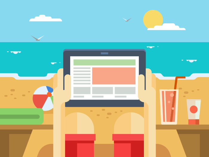 Digital tablet on beach flat illustration