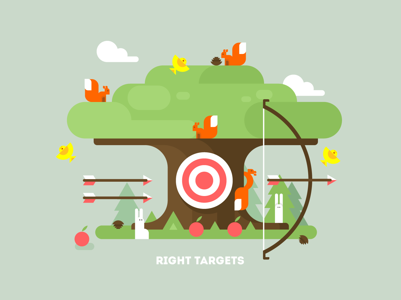 Right targets tree with animal flat vector illustration
