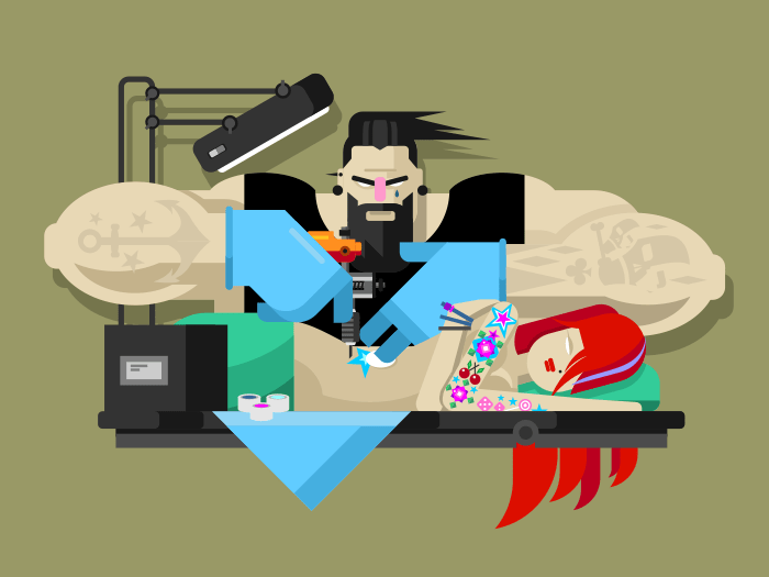 Tattoo master at work flat vector illustration