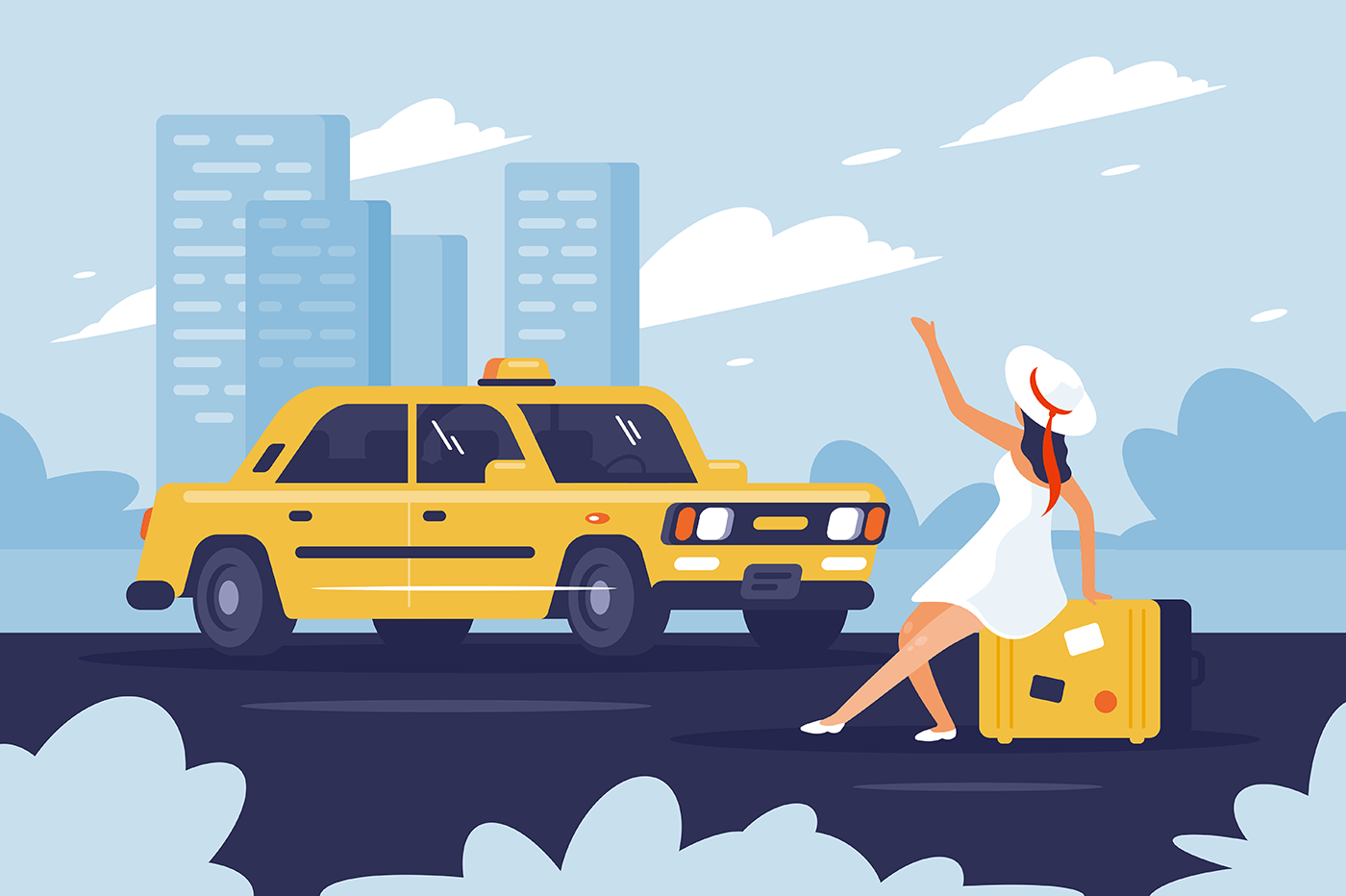 Person catching taxi on the road next to the city.