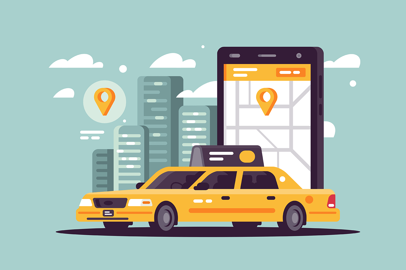Modern taxi call using smartphone and online application.