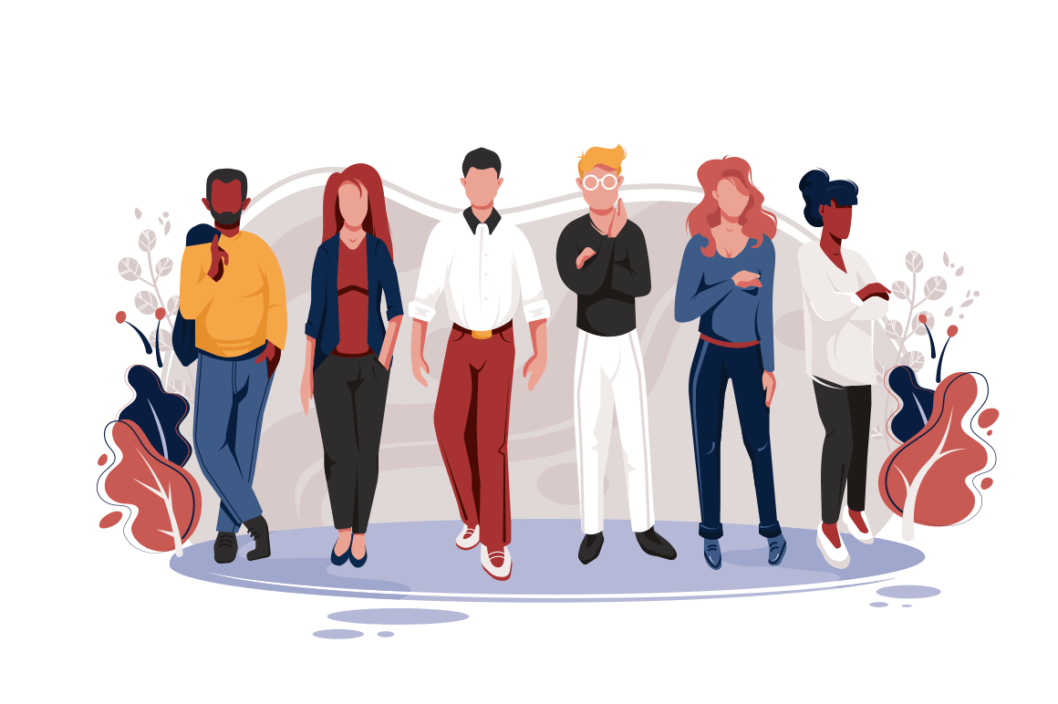 Flat team with men and women with glasses, red, blonde and dark hair