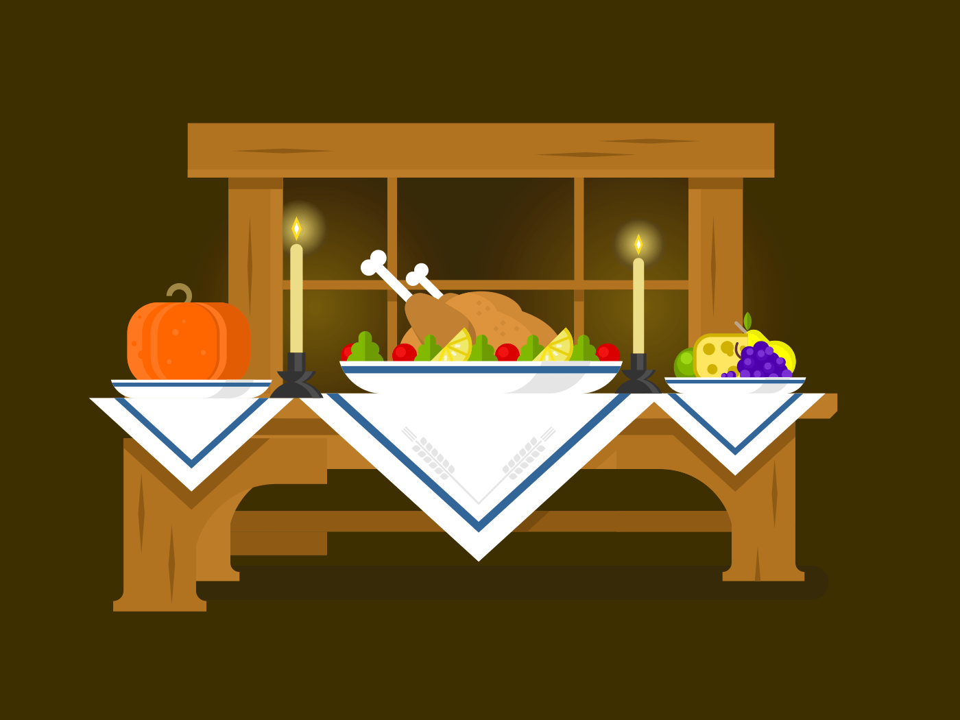 Holiday table for Thanksgiving flat vector illustration