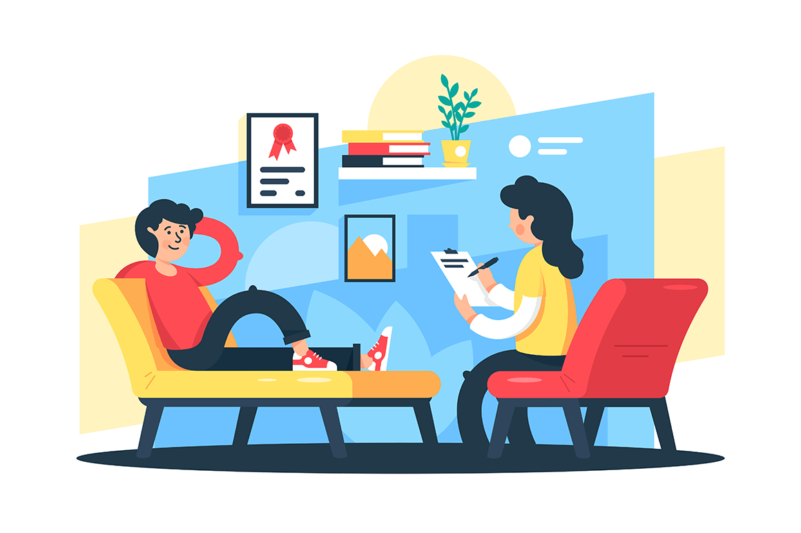 Flat young man and woman therapist with tablet.