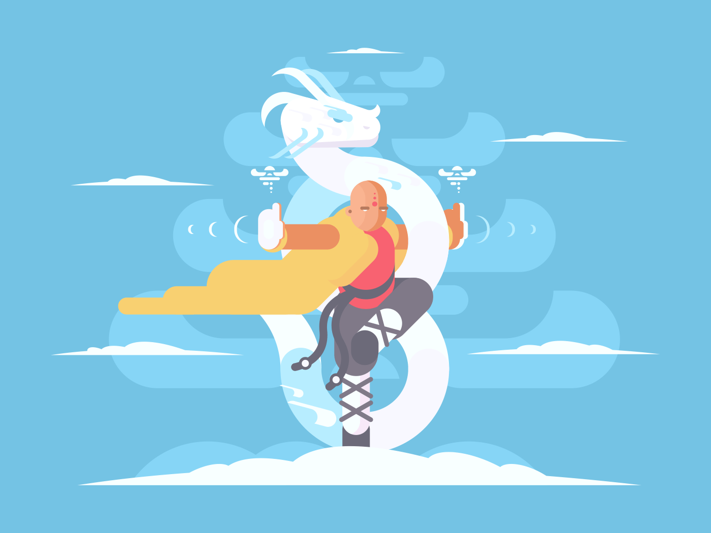 Tibetan monk character. Kung Fu martial arts asia. Vector illustration