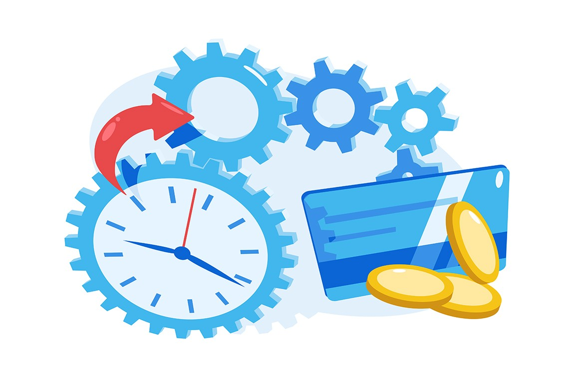 Time is money vector illustration. Financial performance. Value of time. Clock, credit card and golden coins flat style concept. Isolated on white background