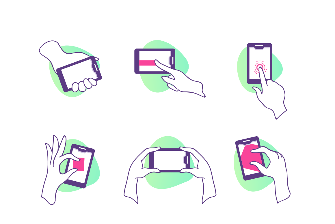 Flat set icons with hands with smartphone with touchscreen.