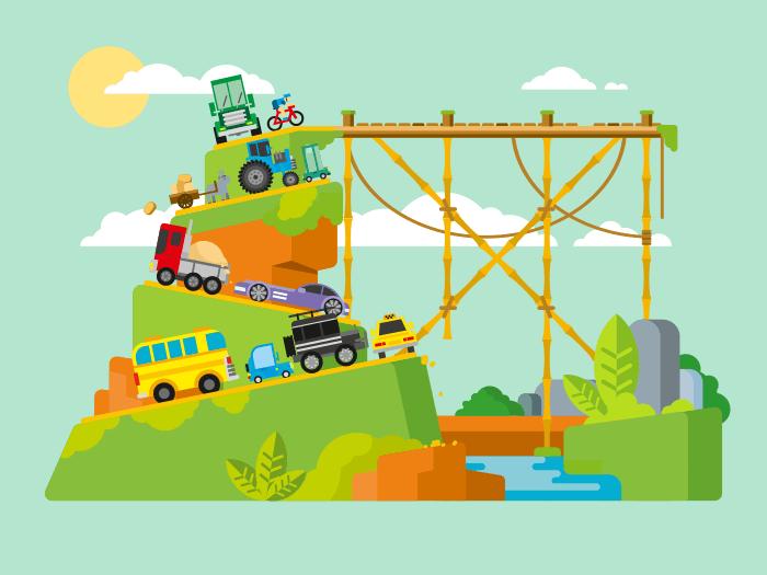 Traffic jam flat vector illustration