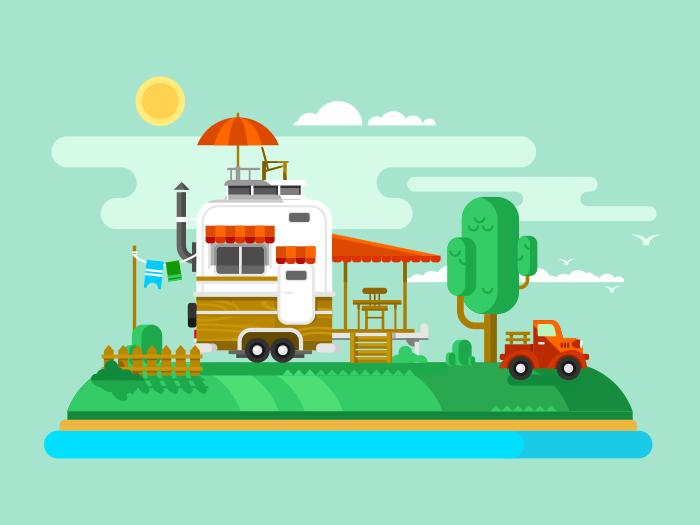 Vacation trailer flat vector illustration