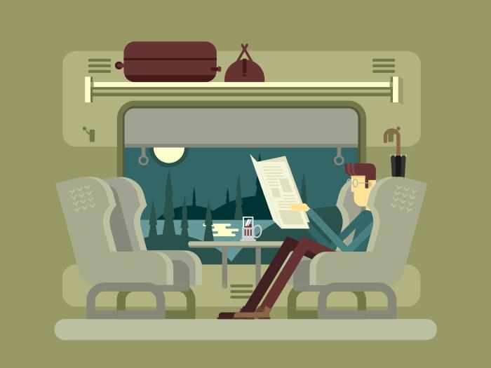 Passenger rides on train flat vector illustration