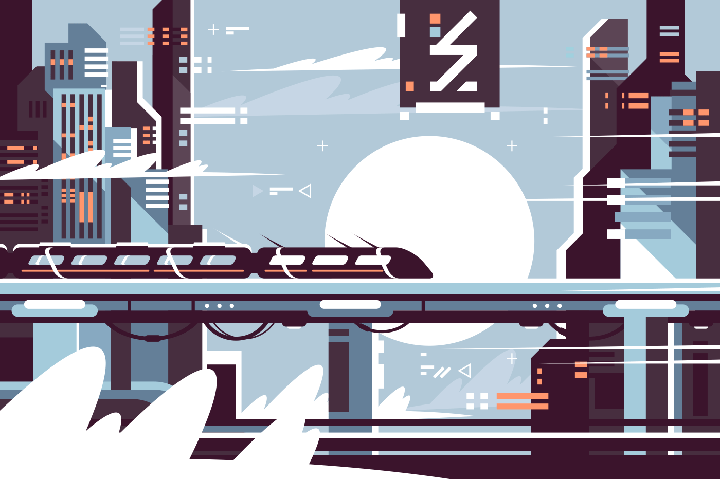 Electric train. Concept moving electric train in city. Vector illustration.
