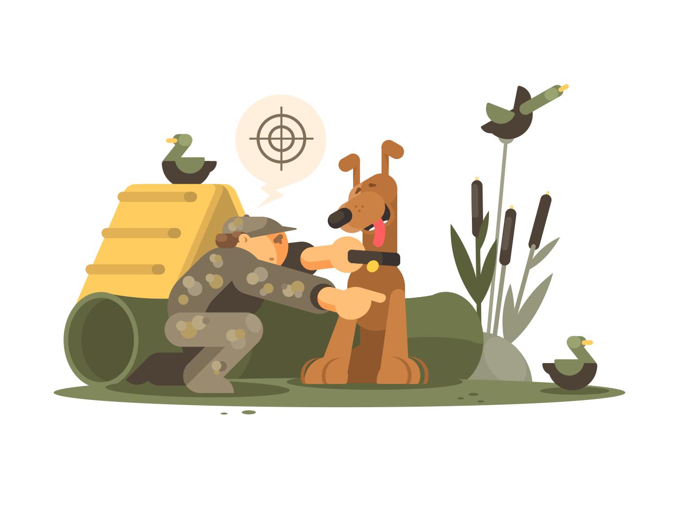 Cynologist training hunting dog illustration