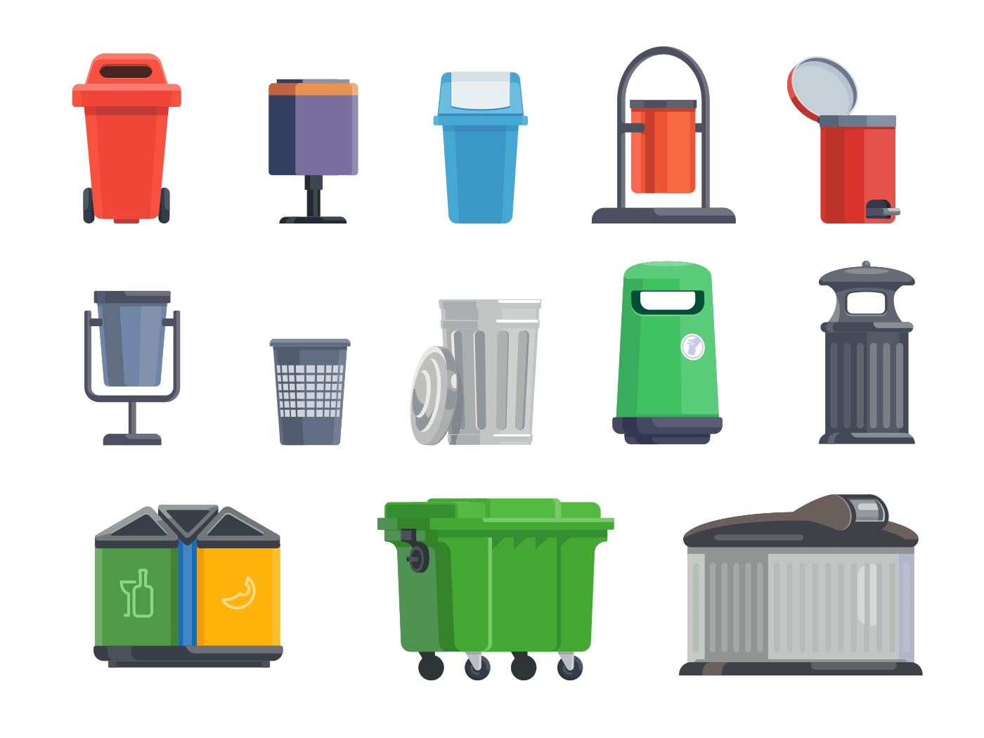 Set of garbage cans for home and street