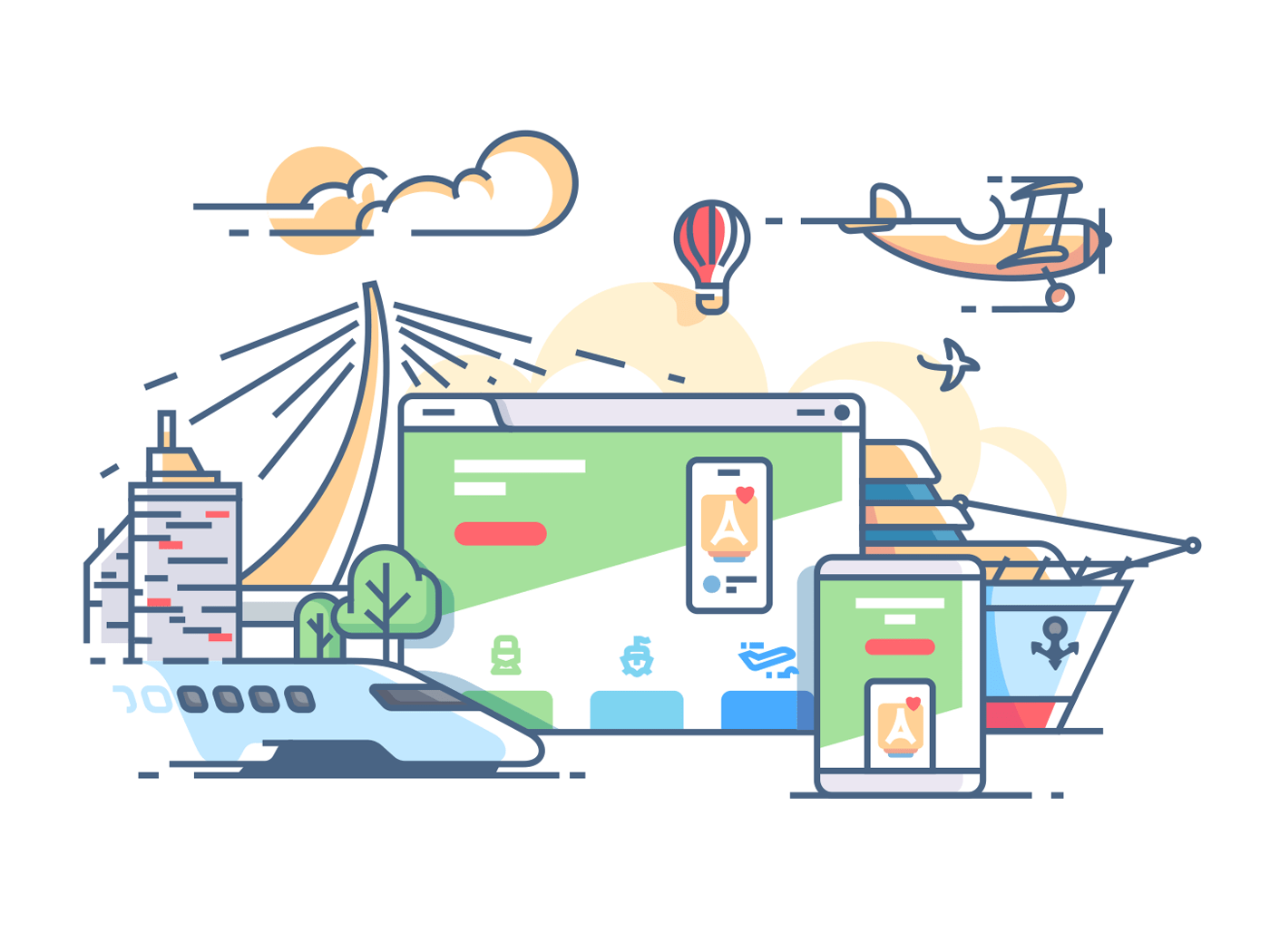 Site travel agency. Planning recreation or holiday. Vector flat illustration