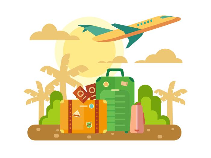 Summer vacation, travel flat illustration