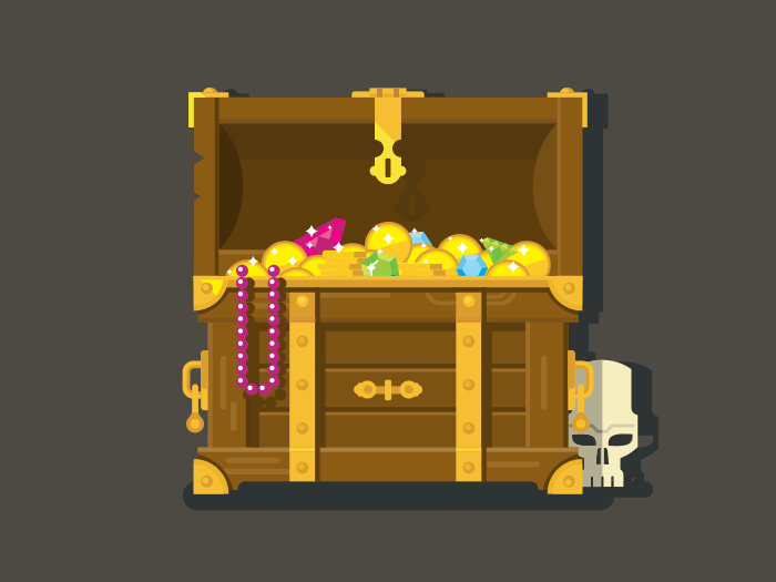 Treasure chest with gold coins flat illustration