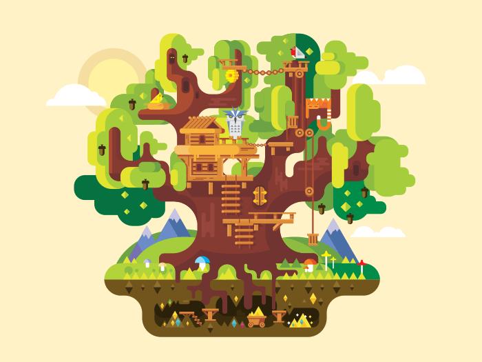 Fabulous tree house flat vector illustration