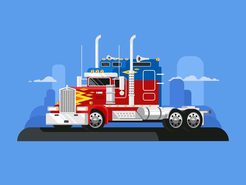 Fura truckers flat vector illustration