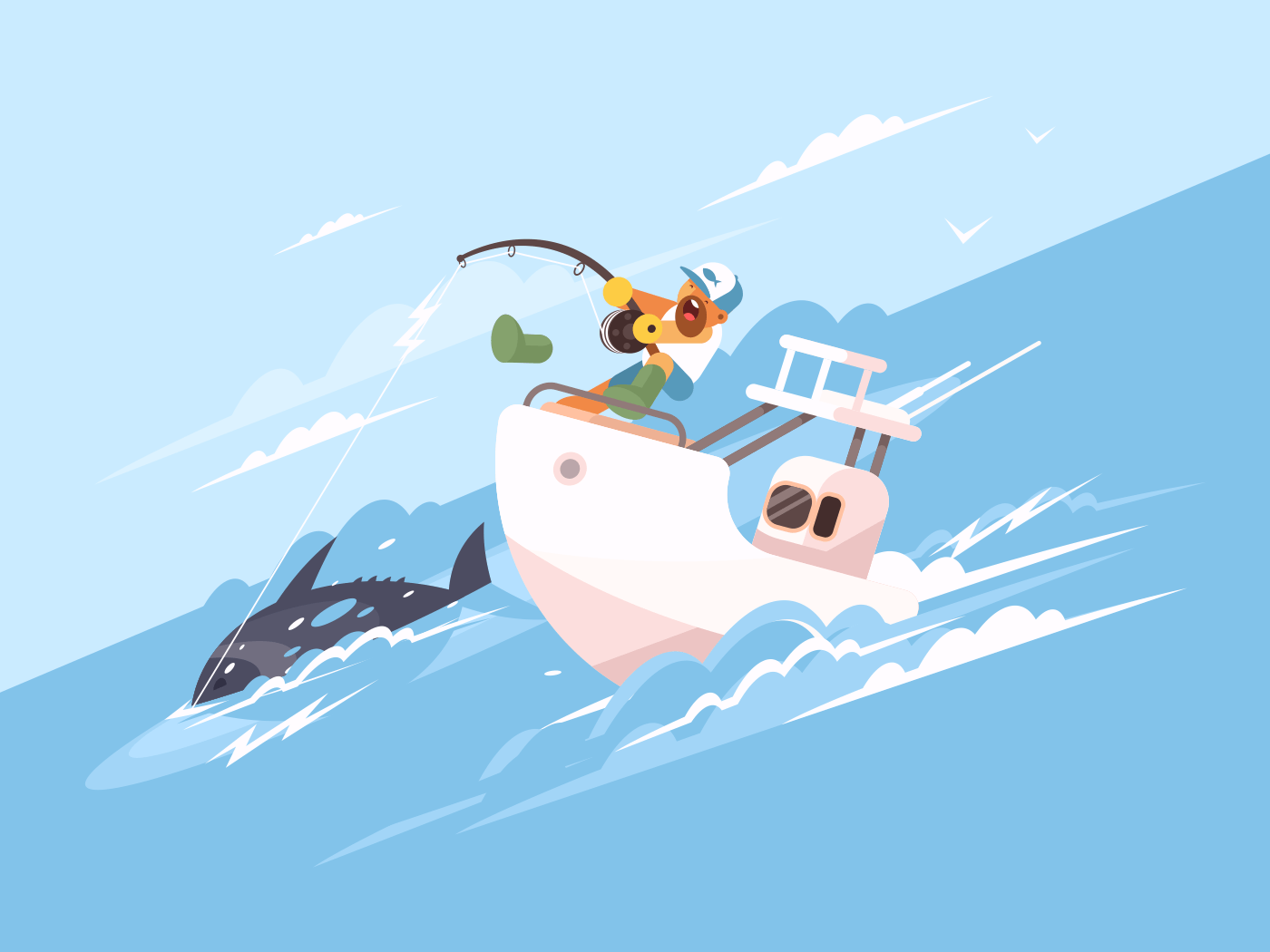 Fisherman catches tuna from yacht illustration