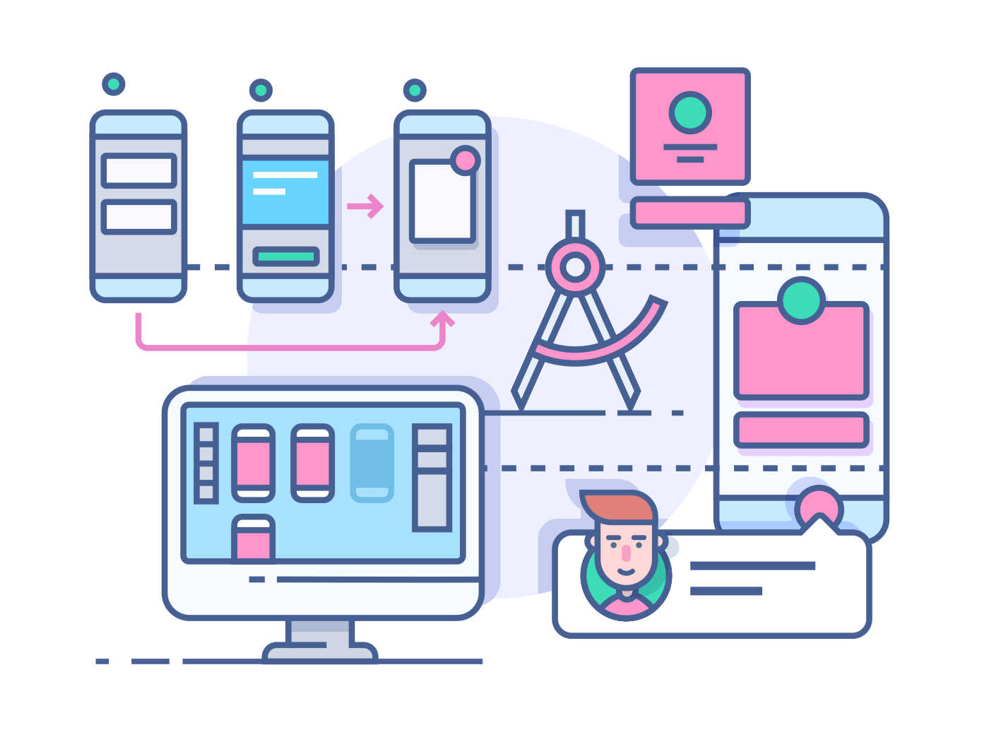 UX UI design process line vector illustration