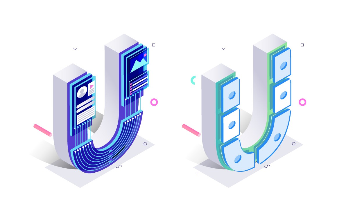 Letters U with social networks elements