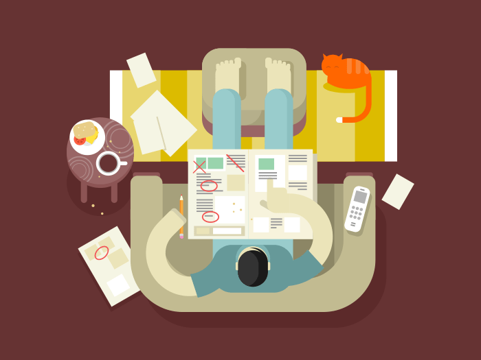Unemployed looking for a job in the newspaper flat vector illustration