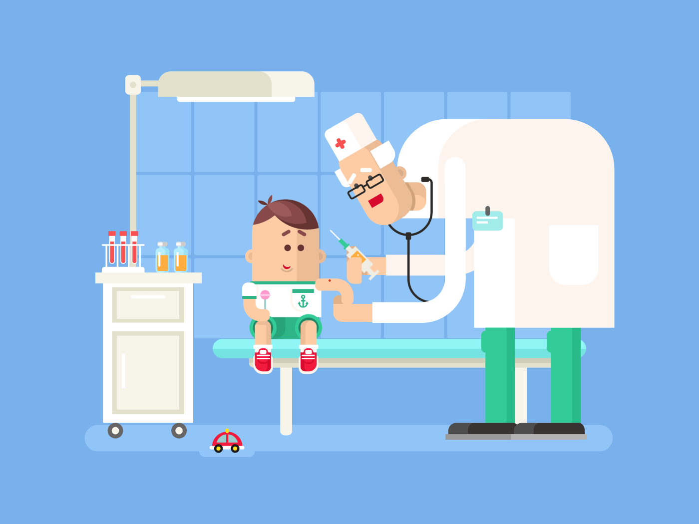 Doctor doing child vaccination flat vector illustration