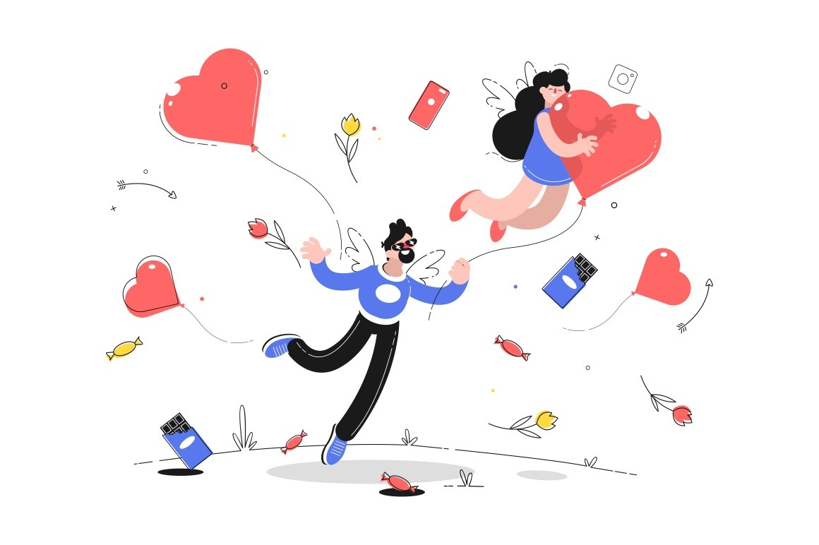 Man holding ribbon with flying woman on heart shaped balloon vector illustration. Flowers and sweets symbols of valentines day flat style. Love and festive event concept