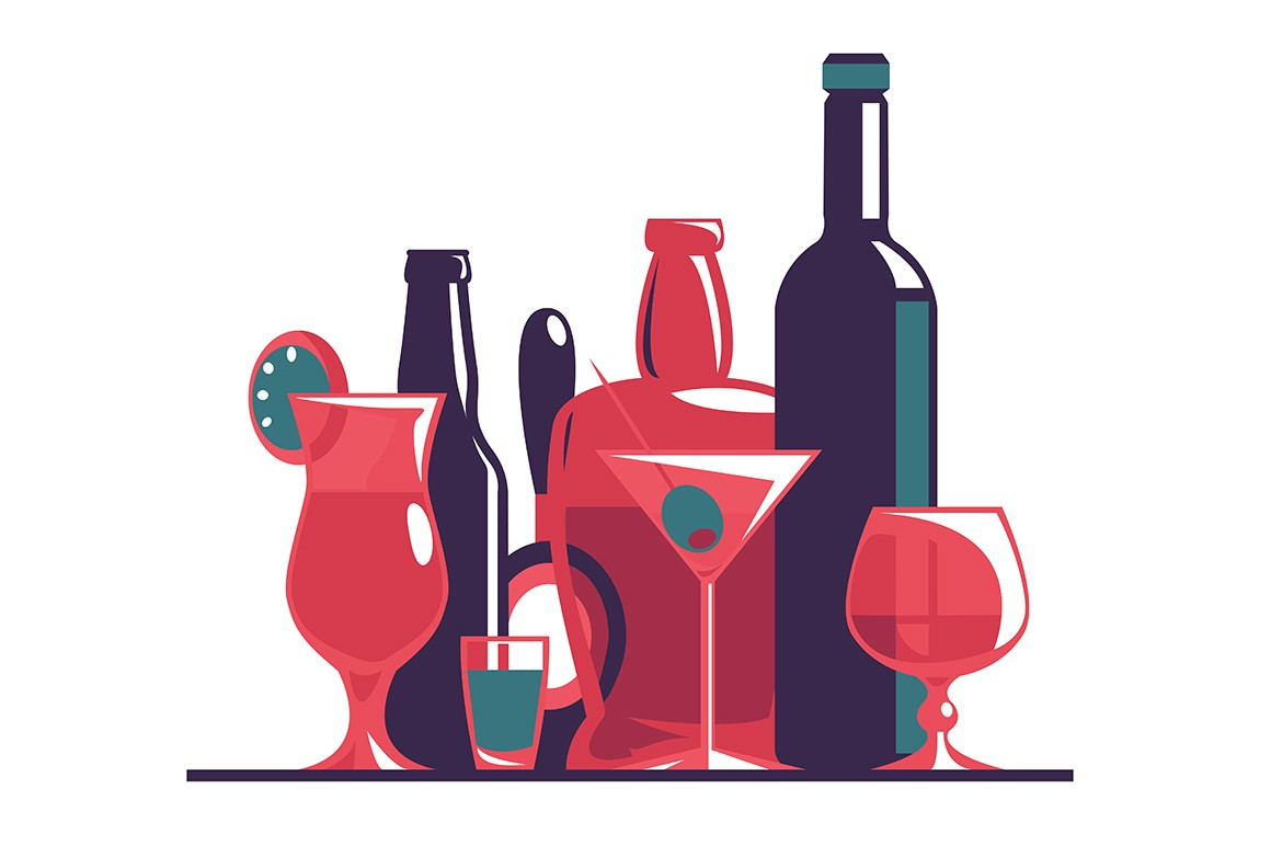 Alcoholic and non-alcoholic drinks set vector illustration. Wine, whiskey, beer bottles and different glasses collection. Party concept. Isolated on white background