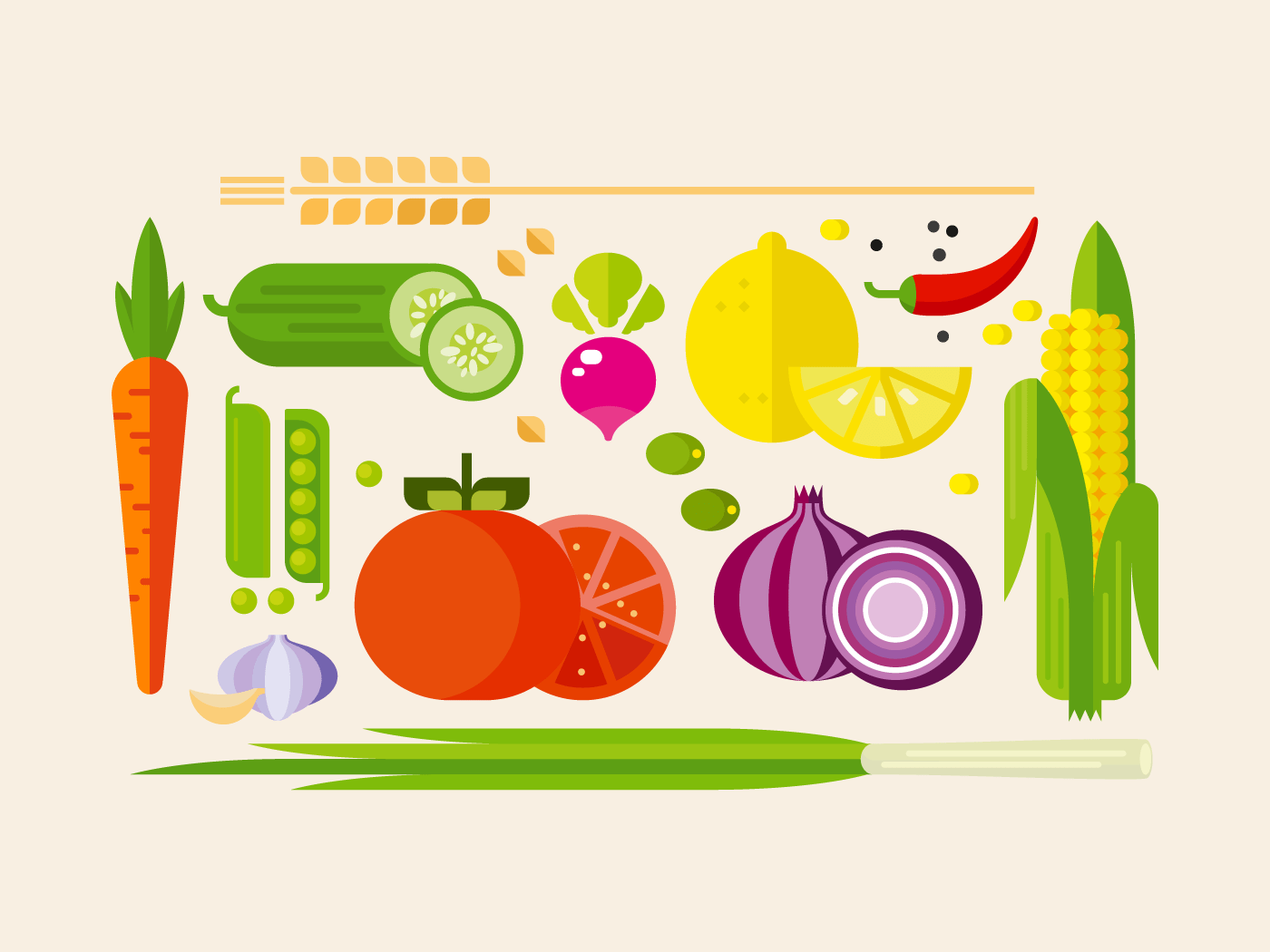 Vegetables flat icons