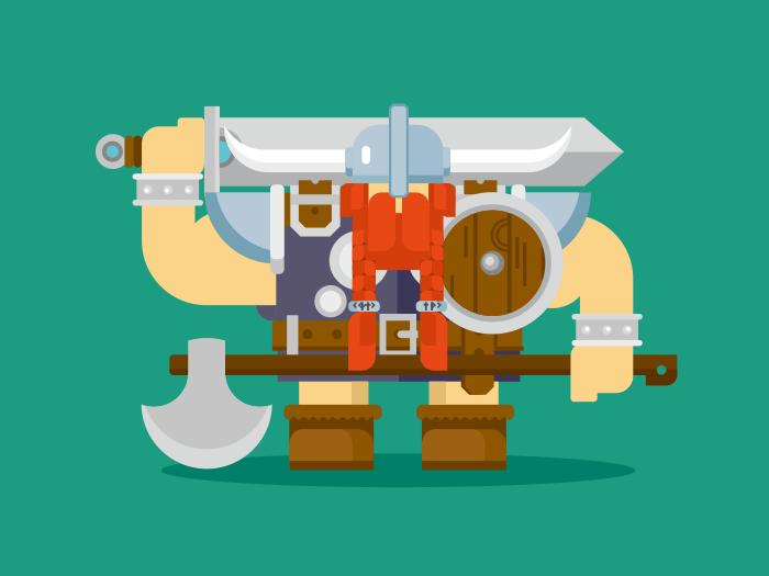 Viking character flat vector illustration